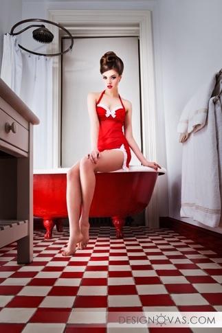 ванная комната к красных тонах